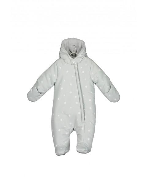 Kombinezon zimowy dla niemowlaka- szary w gwiazdki