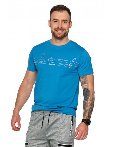 Niebieski T-shirt męski - Gdynia- Sopot- Gdańsk- Bałtyk