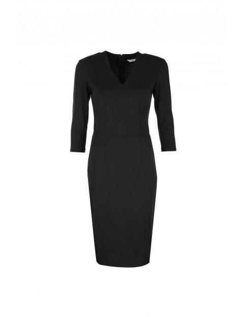 Sukienka z dekoltem w literę V - czarna