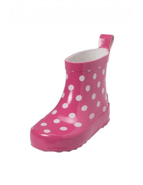 Krótkie kalosze dla dziewczynki- różowe w białe kropki