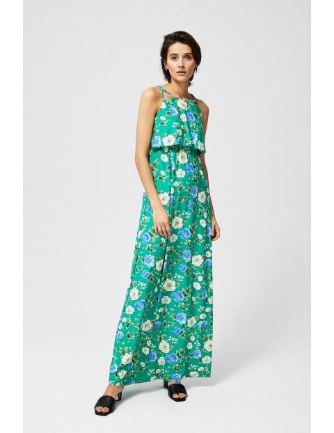 Sukienka na lato zielona w kwiaty