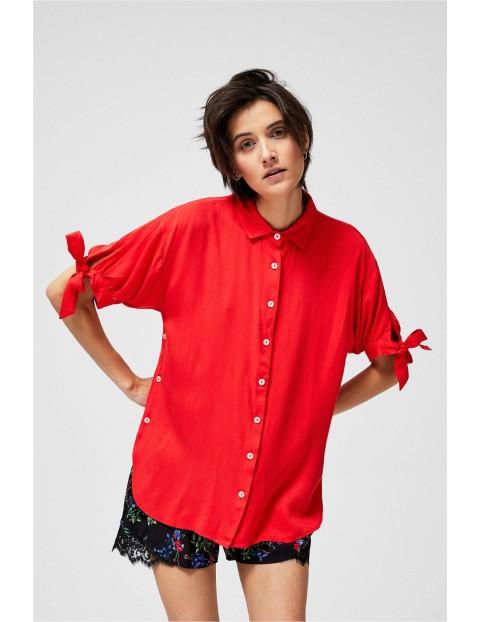 Koszula damska z marszczonymi rękawami- koralowa