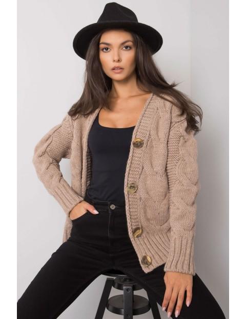 Brązowy sweter damski rozpinany