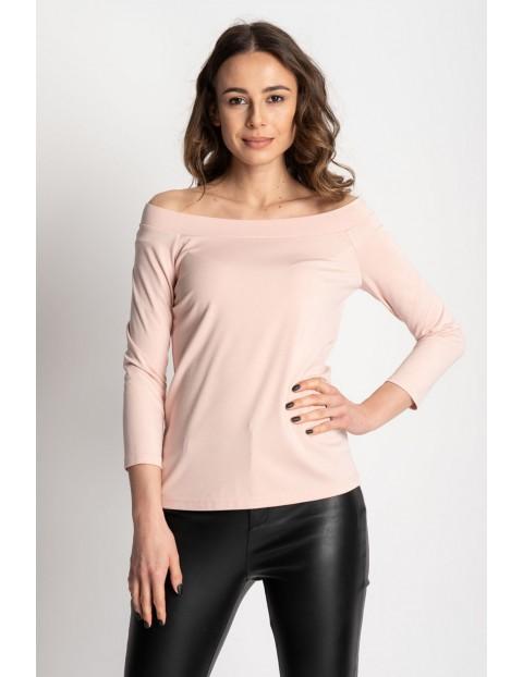 Różowa bluzka damska  z odkrytymi ramionami