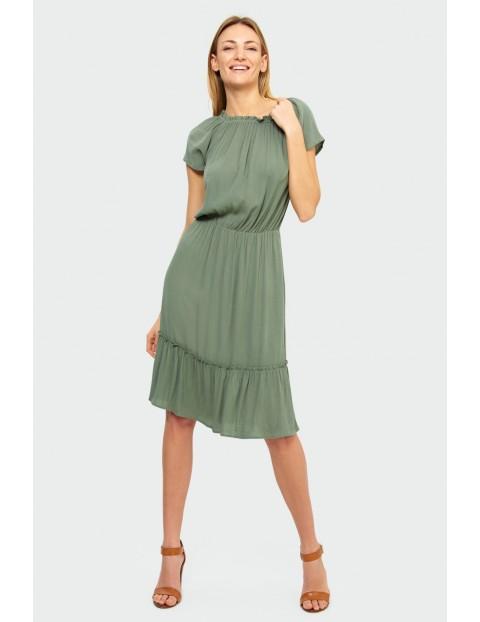 Wiskozowa sukienka z dekoltem typu hiszpanka krótki rękaw zielona
