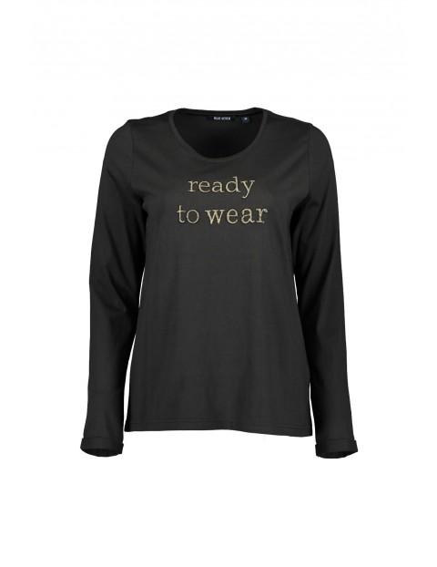 Bluzka damska ze złotymi napisami- czarna