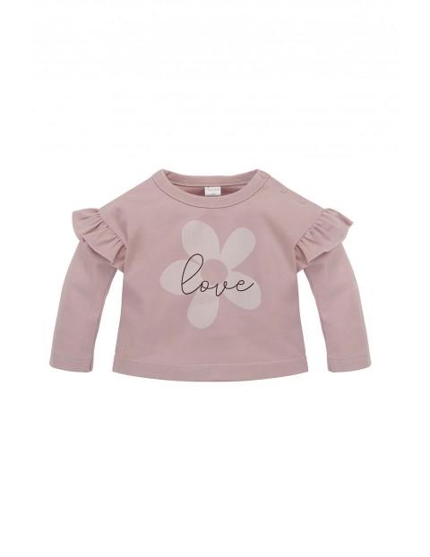 Bluzka niemowlęca długi rękaw z falbanką różowa
