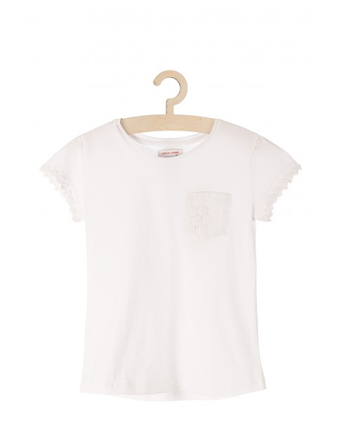 Biała dzianinowa koszulka dla dziewczynki-koronkowe obszycia