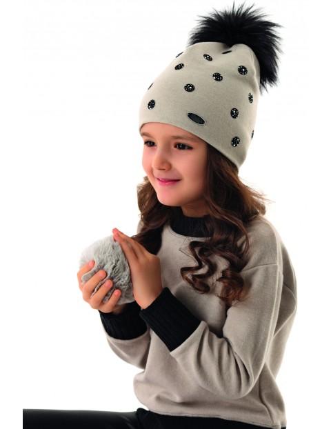 Czapka dziewczęca z czarnym pomponem - szara