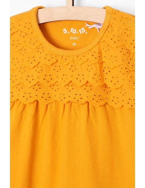 Bluzka niemowlęca z ozdobną koronką -długi rękaw