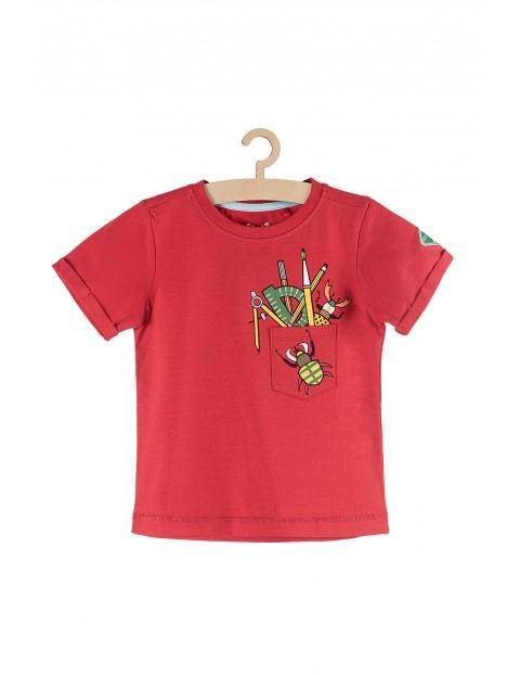 T-shirt dla chłopca czerwony z nadrukami