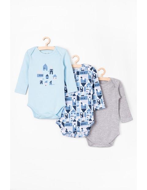 Body niemowlęce w domki 3 pak - 100% bawełna