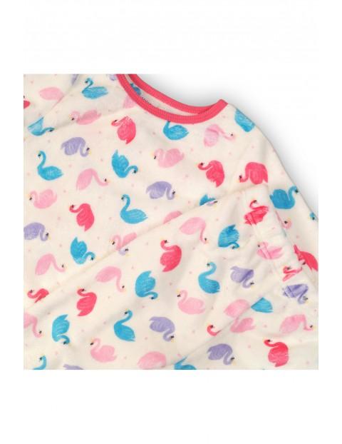 Ciepła piżama dziewczęca w łabędzie - biała