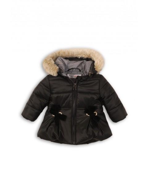 Kurtka dziewczęca zimowa- ciemny szary z kapturem