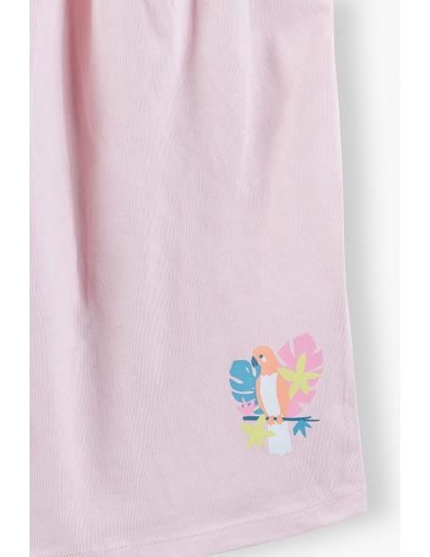 Bluzka dziewczęca na ramiączka z papugą - różowa