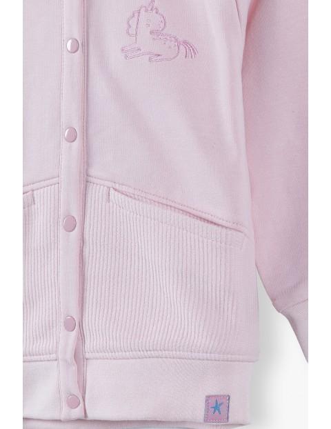 Bluza dresowa niemowlęca z odpinanym kapturem - różowa
