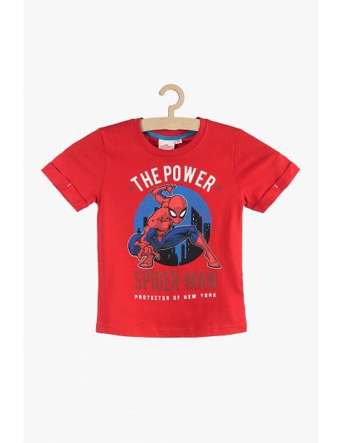 Bawełniany T-Shirt chłopięcy Spiderman czerwony rozm 140
