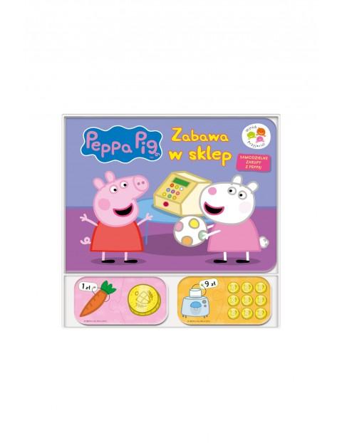 Książka dziecięca z puzzlami w środku  - Zabawa w sklep Świnka Peppa wśród przyjaciół