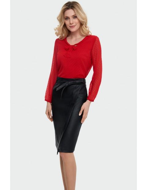 Czarna asymetryczna ołówkowa spódnica damska z ekologicznej skóry