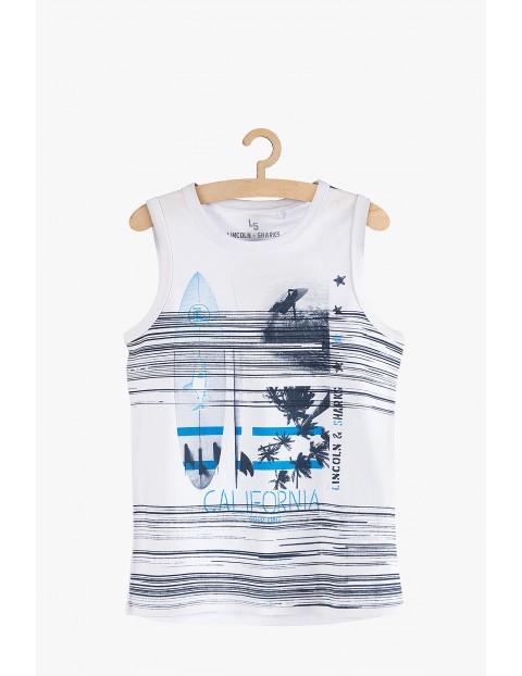 Koszulka chłopięca na lato- biała z nadrukiem