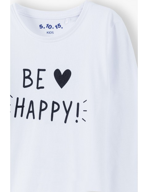 Biała bluzka dziewczęca Be happy - długi rękaw