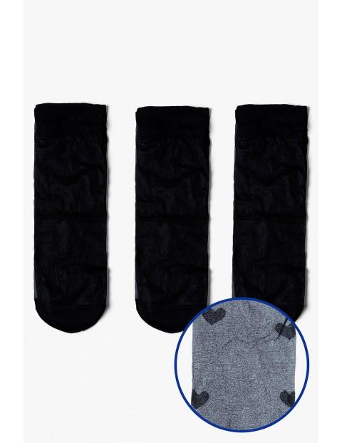 Skarpetki damskie cienkie czarne w serca 3-pack 20 DEN