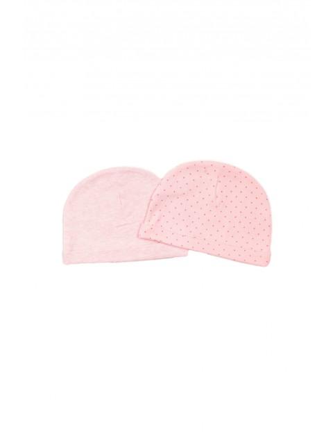 Czapeczki bawełniane niemowlęce - różowe 2pak