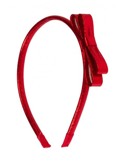 Opaska dziewczęca- czerwona z kokardką