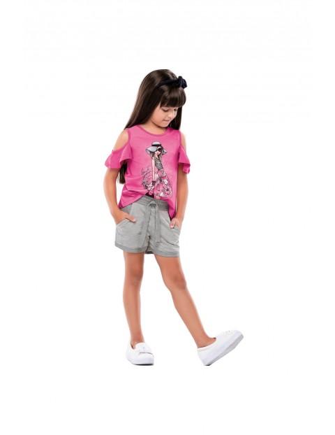 Komplet ubrań dla dziewczynki różowy t-shirt i szare spodenki