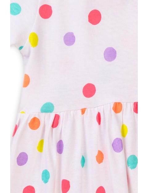 Sukienka dziewczęca biała w kolorowe kropki