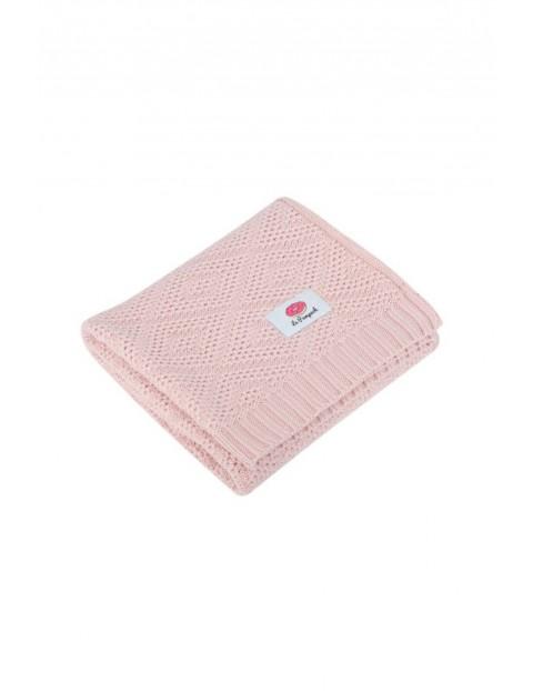 Kocyk zimowy z bawełny supimy - różowy 80x100cm