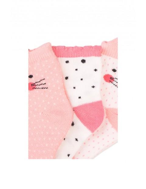 Skarpety różowe niemowlęce Koty 3-pak