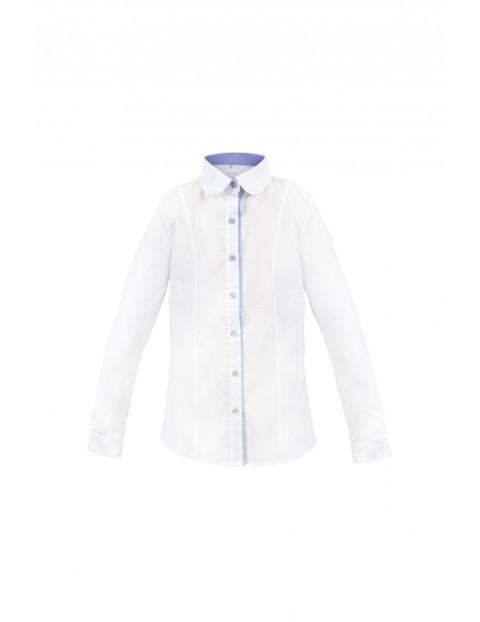 Koszula dziewczęca biała z niebieskimi wstawkami