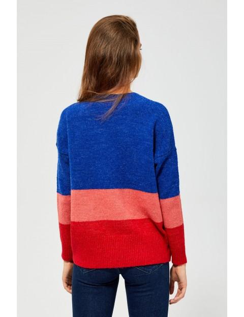 Kolorowy sweter damski w pasy