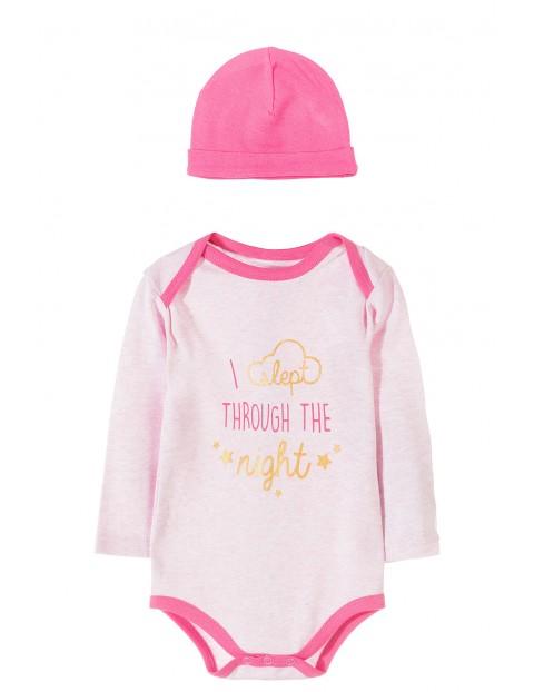 Komplet niemowlęcy body+czapka