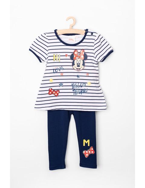 Komplet niemowlęcy t-shirt i legginsy Myszka Minnie szaro-granatowy