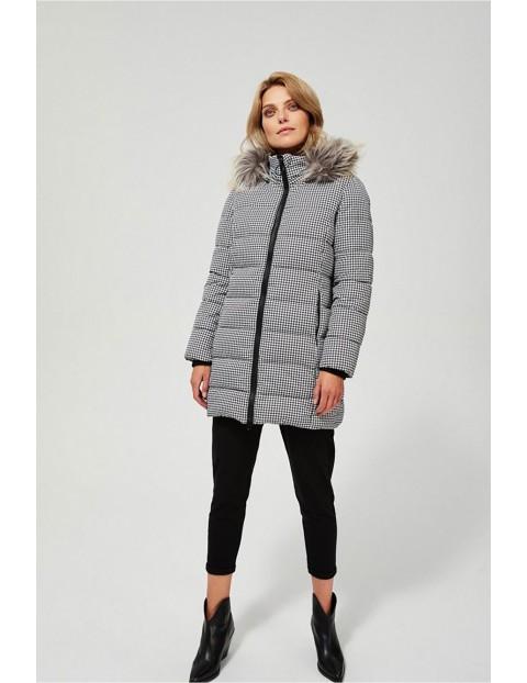 Ocieplana kurtka zimowa damska z puchatym kapturem - szara