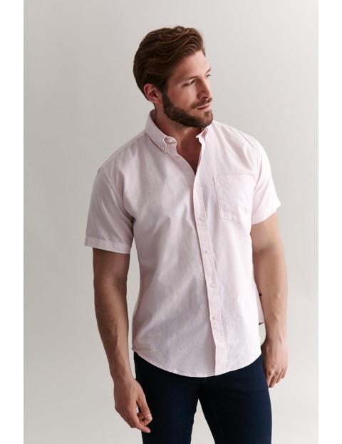 Bawełniana koszula męska na krótki rękaw - różowa