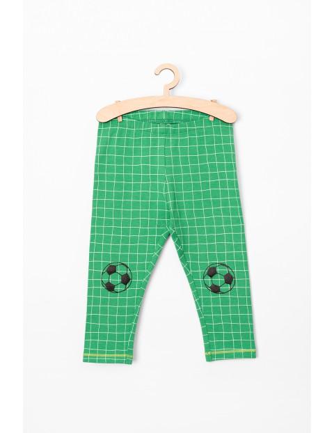 Spodnie niemowlęce zielone w kratkę- piłka nożna