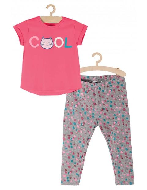 Komplet ubrań dla dziewczynki- kolorowe leginsy i różowy t-shirt