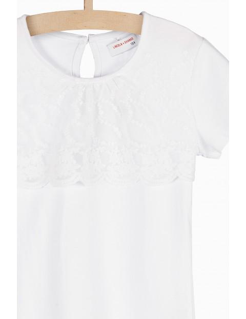 Bluzka dla dziewczynki- biała z koronkową wstawką