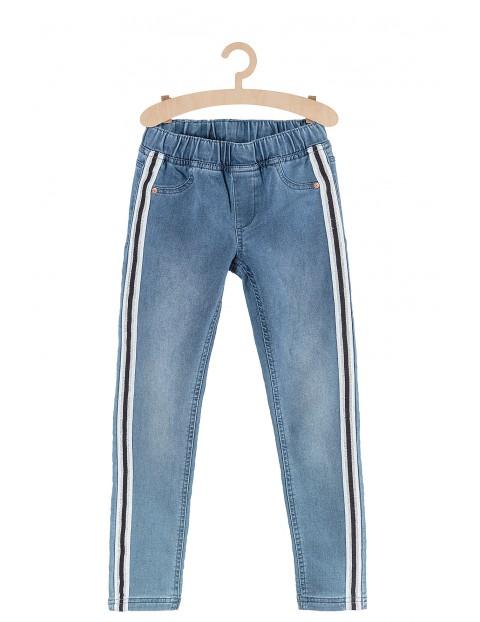 Spodnie dziewczęce Jegginsy- niebieskie z lampasami
