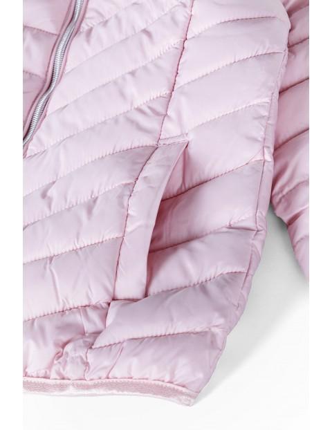 Kurtka dziewczęca różowa pikowana