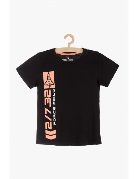 Czarny bawełniany t-shirt dla chłopca