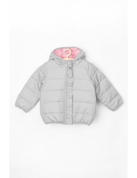 Kurtka niemowlęca przejściowa szara z różową podszewką