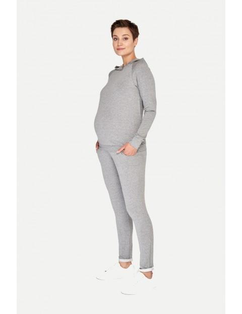 Bluza z kapturem ciążowa i do karmienia - szary melanż