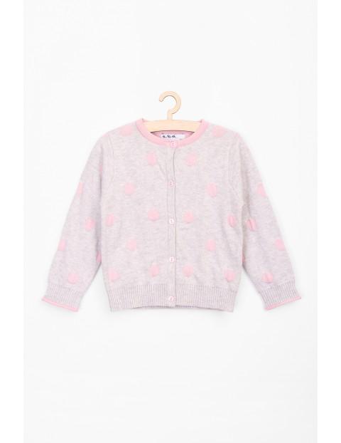 Sweter dla niemowlaka szary w różowe grochy