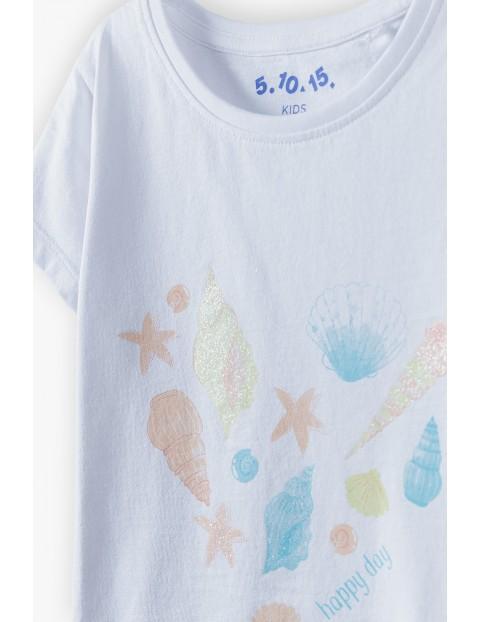 Bluzka dziewczęca z muszelkami - biała z napisem happy day