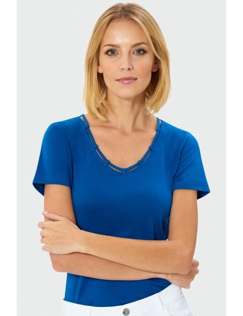 Niebieski top z krótkim rękawem-ubrania dla kobiet