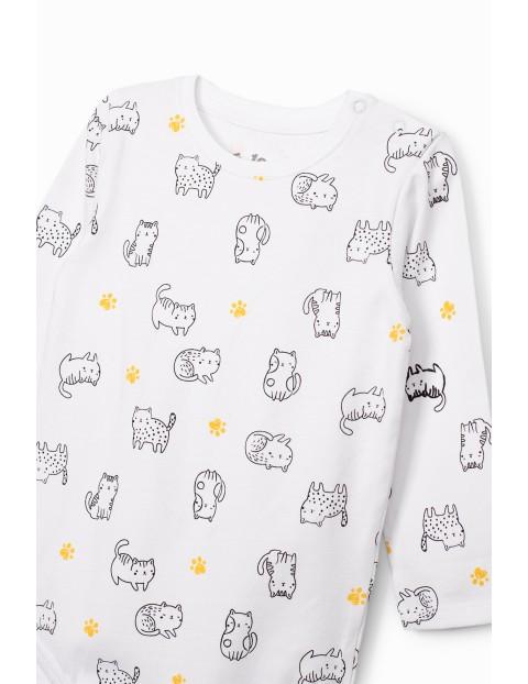Body niemowlęce z kotkami - białe